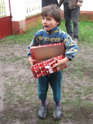 A child in Serbia receives his shoebox